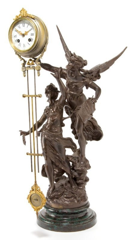 66018: AN ANSONIA SPELTER AND GILT BRONZE SWING-ARM CLO