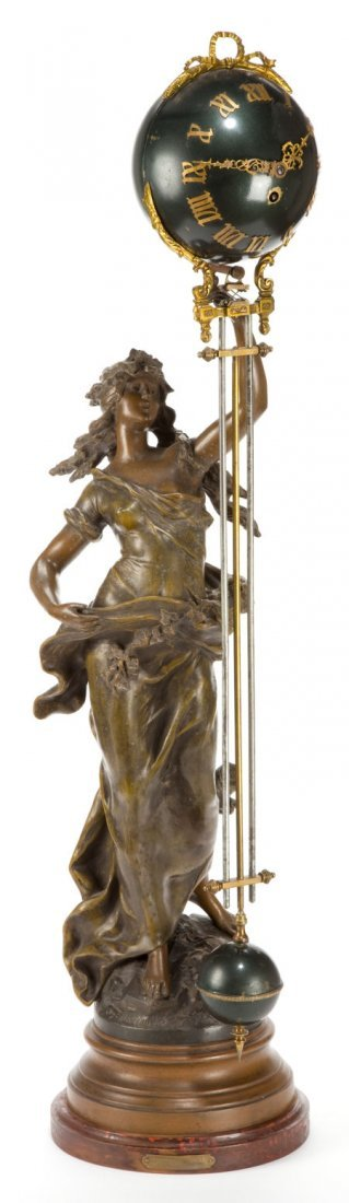 66019: AN ANSONIA SPELTER SWING ARM CLOCK AFTER MOREAU: