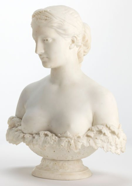 66020: A HIRAM POWERS (AMERICAN, 1805-1873) MARBLE BUST