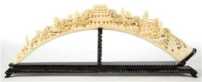 66152: A MONUMENTAL PALACE SIZED CHINESE CARVED IVORY B