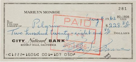 46003: A Marilyn Monroe Likely Final Signed Check, Augu