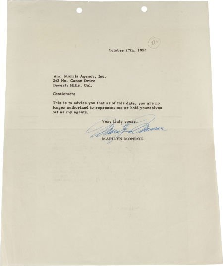 46005: A Marilyn Monroe Signed Note, 1952.