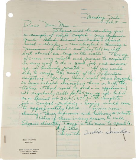 46011: A Marilyn Monroe-Received Letter from Eunice Mur
