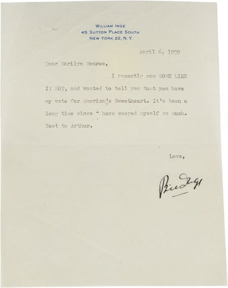 46012: A Marilyn Monroe-Received Note from William Inge