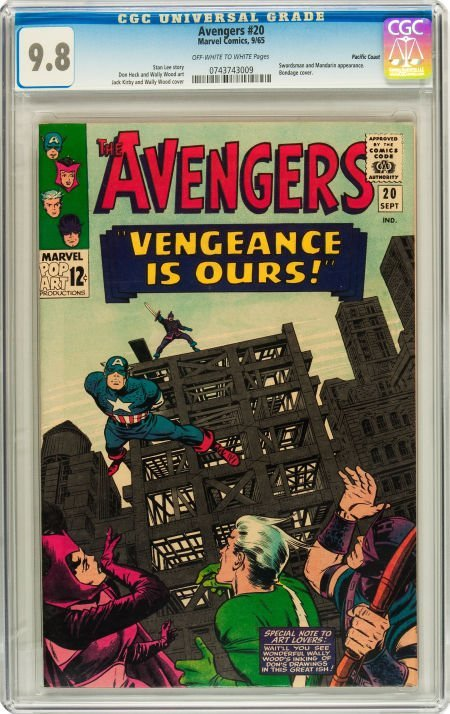 91020: The Avengers #20 Pacific Coast pedigree (Marvel,