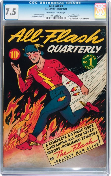 93005: All-Flash #1 (DC, 1941) CGC VF- 7.5 Off-white to