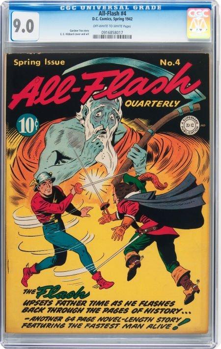 93006: All-Flash #4 (DC, 1942) CGC VF/NM 9.0 Off-white