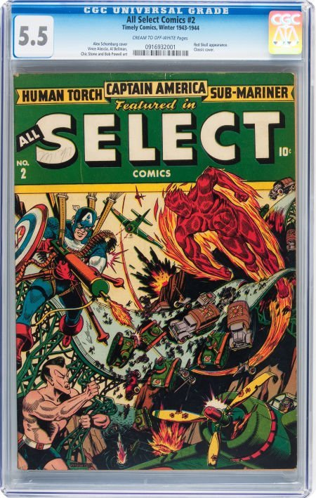 93007: All Select Comics #2 (Timely, 1943) CGC FN- 5.5