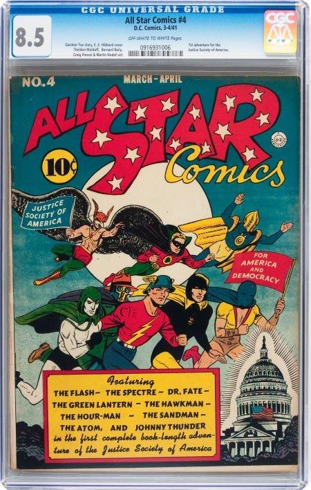 93008: All Star Comics #4 (DC, 1941) CGC VF+ 8.5 Off-wh