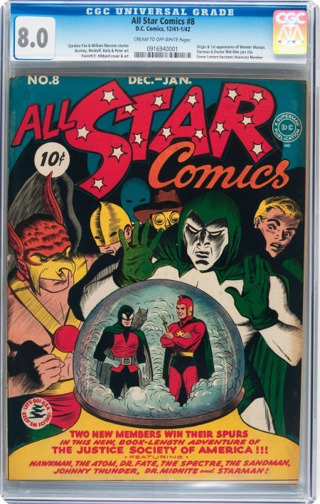 93010: All Star Comics #8 (DC, 1942) CGC VF 8.0 Cream t