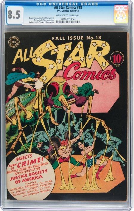 93011: All Star Comics #18 (DC, 1943) CGC VF+ 8.5 Off-w