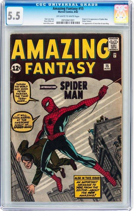 93016: Amazing Fantasy #15 (Marvel, 1962) CGC FN- 5.5 O