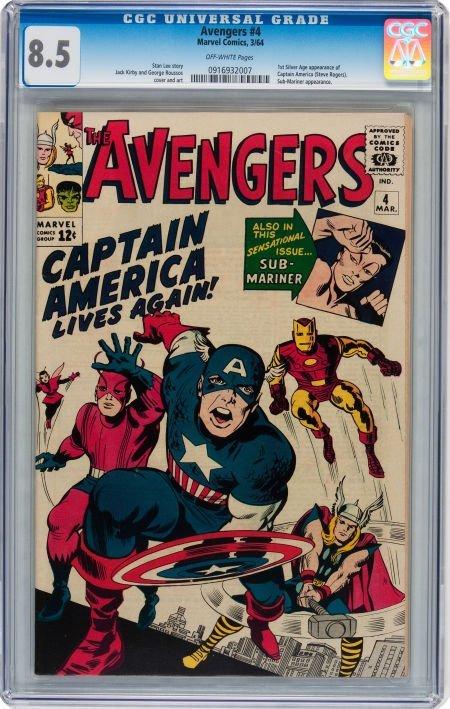93021: The Avengers #4 (Marvel, 1964) CGC VF+ 8.5 Off-w