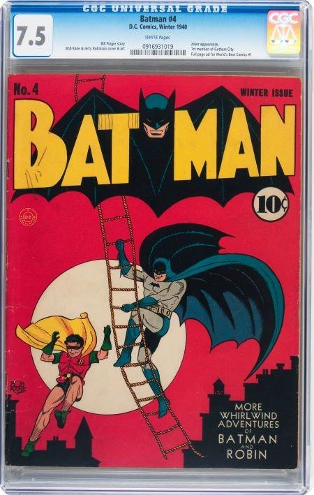 93022: Batman #4 (DC, 1940) CGC VF- 7.5 White pages.