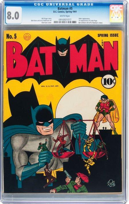 93023: Batman #5 (DC, 1941) CGC VF 8.0 White pages.