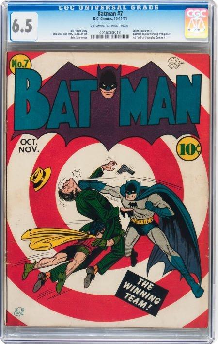 93024: Batman #7 (DC, 1941) CGC FN+ 6.5 Off-white to wh