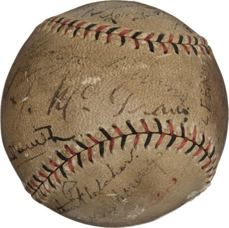 80004: 1919 New York Giants Team Signed Baseball with M