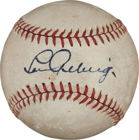80007: Late 1930's Lou Gehrig Single Signed Baseball.