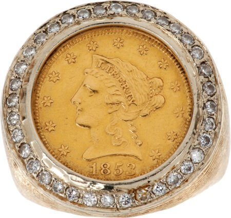 46075: Elvis Presley Stage Worn Gold Coin and Diamond R