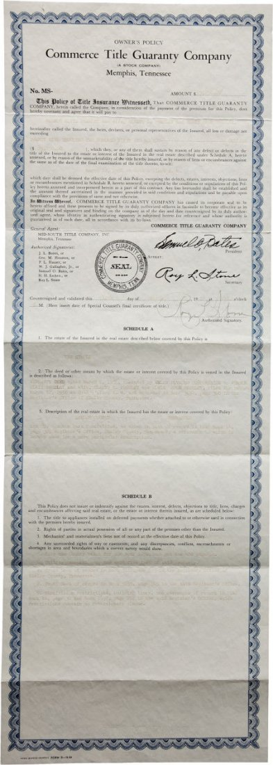 46011: Elvis Presley's Title Policy Document for His Fi