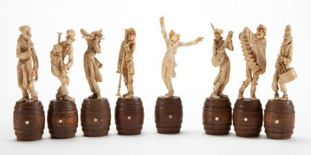 86006: A SET OF EIGHT CONTINENTAL IVORY MUSICAL FIGURES