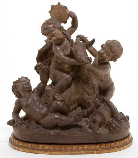 86008: A CONTINENTAL TERRA COTTA FIGURAL GROUP WITH WOO