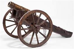 87063: A CONTINENTAL BRONZE CANNON WITH IRON AND WOOD C