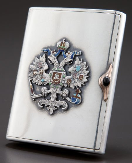 68010: A RUSSIAN SILVER, SILVER GILT, ENAMEL AND ONYX C