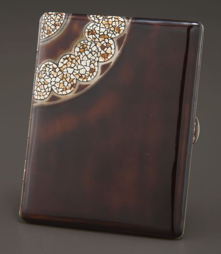 68011: A FRENCH SILVER GILT AND ENAMEL CARD CASE IN THE