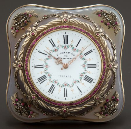 68013: A CASED DREYFOUS SILVER GILT, ENAMEL, GLASS AND