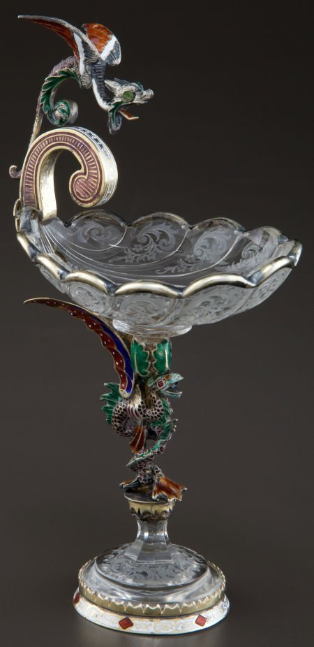 68021: A VIENNESE SILVER GILT, ENAMEL AND ROCK CRYSTAL