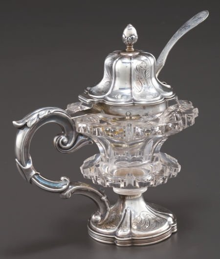68023: A DUTCH SILVER AND ROCK CRYSTAL MUSTARD POT AND