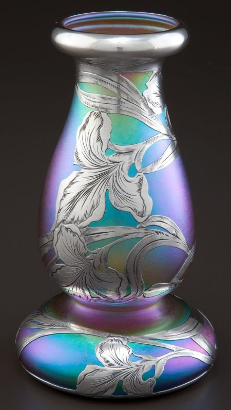 68043: A QUEZAL GLASS VASE WITH ALVIN SILVER OVERLAY  Q