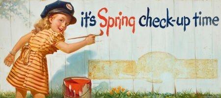 "78006: AMERICAN ARTIST (20th Century) ""It's Spring Chec"