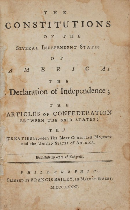 36003: [Americana]. The Constitution of the Several Ind