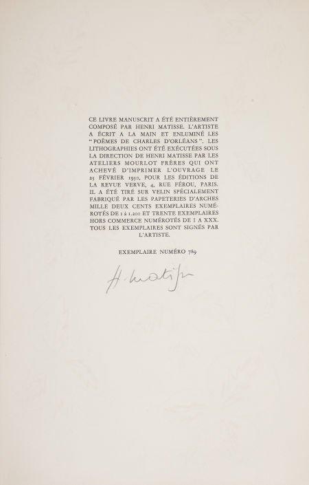 36127: Henri Matisse. Poèmes de Charles d'Orleans, manu