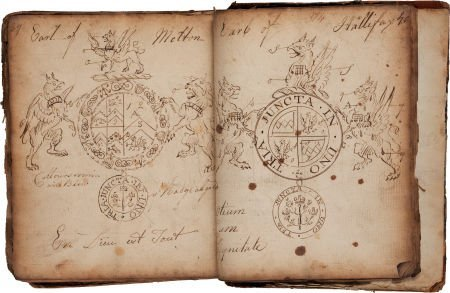 34160: Eighteenth Century Ledger of Coats of Arms.