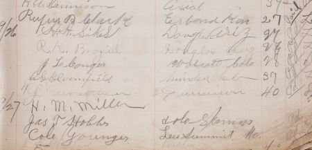 34012: Cole Younger Signature in Ward's Hotel Register.