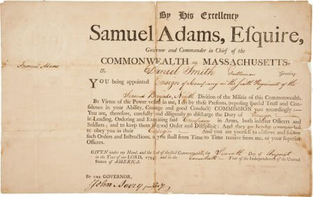 34023: Samuel Adams Military Appointment Signed