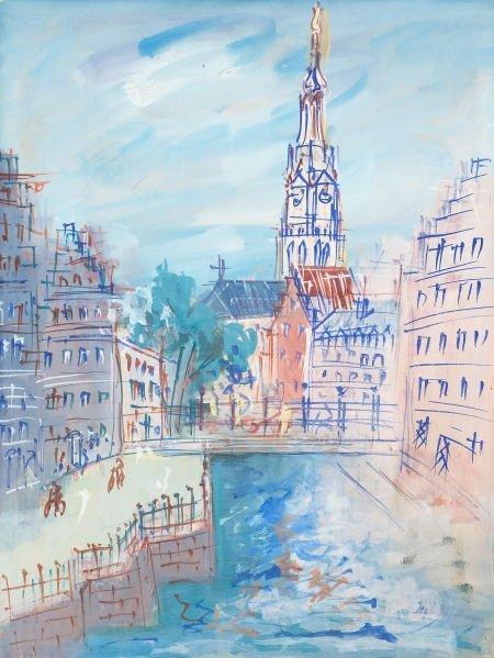 64015: JEAN DUFY (French, 1888-1964) Vue de la cathédra