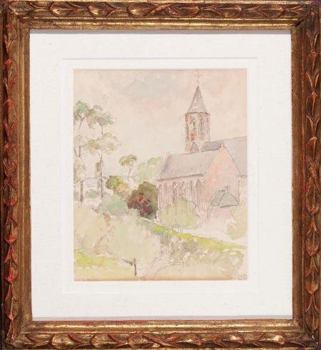 64018: CAMILLE PISSARRO (French, 1831-1903) L'église de