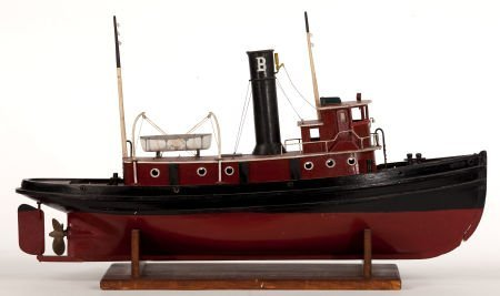 88170: VINTAGE MECHANICAL TOY TUGBOAT Presented on wood