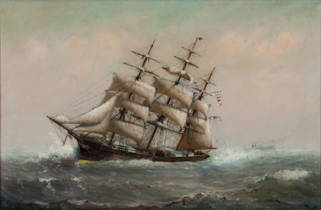 88019: MARSHALL JOHNSON JR. (American, 1850-1921) Ship