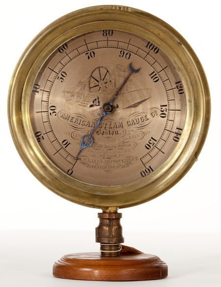88184: AMERICAN BRASS STEAM GAUGE An extremely rare and