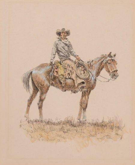 76007: OLAF WIEGHORST (American, 1899-1988) Horse and R