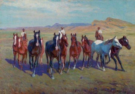 76009: RICHARD LORENZ (American, 1858-1915) Round Up Oi