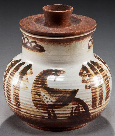 50002: A HOPI PAINTED CERAMIC JAR WITH WOODEN LID Charl