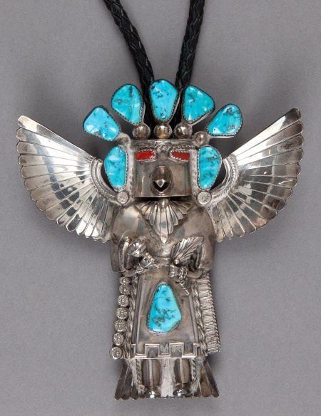 50009: A NAVAJO SILVER AND STONE BOLO TIE Attributed to