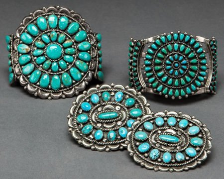 50010: FOUR SOUTHWEST SILVER AND TURQUOISE JEWELRY ITEM