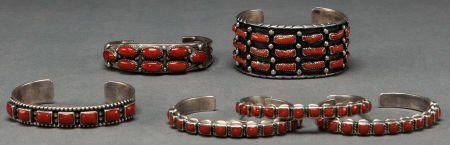 50012: SIX NAVAJO SILVER AND CORAL BRACELETS c. 1985